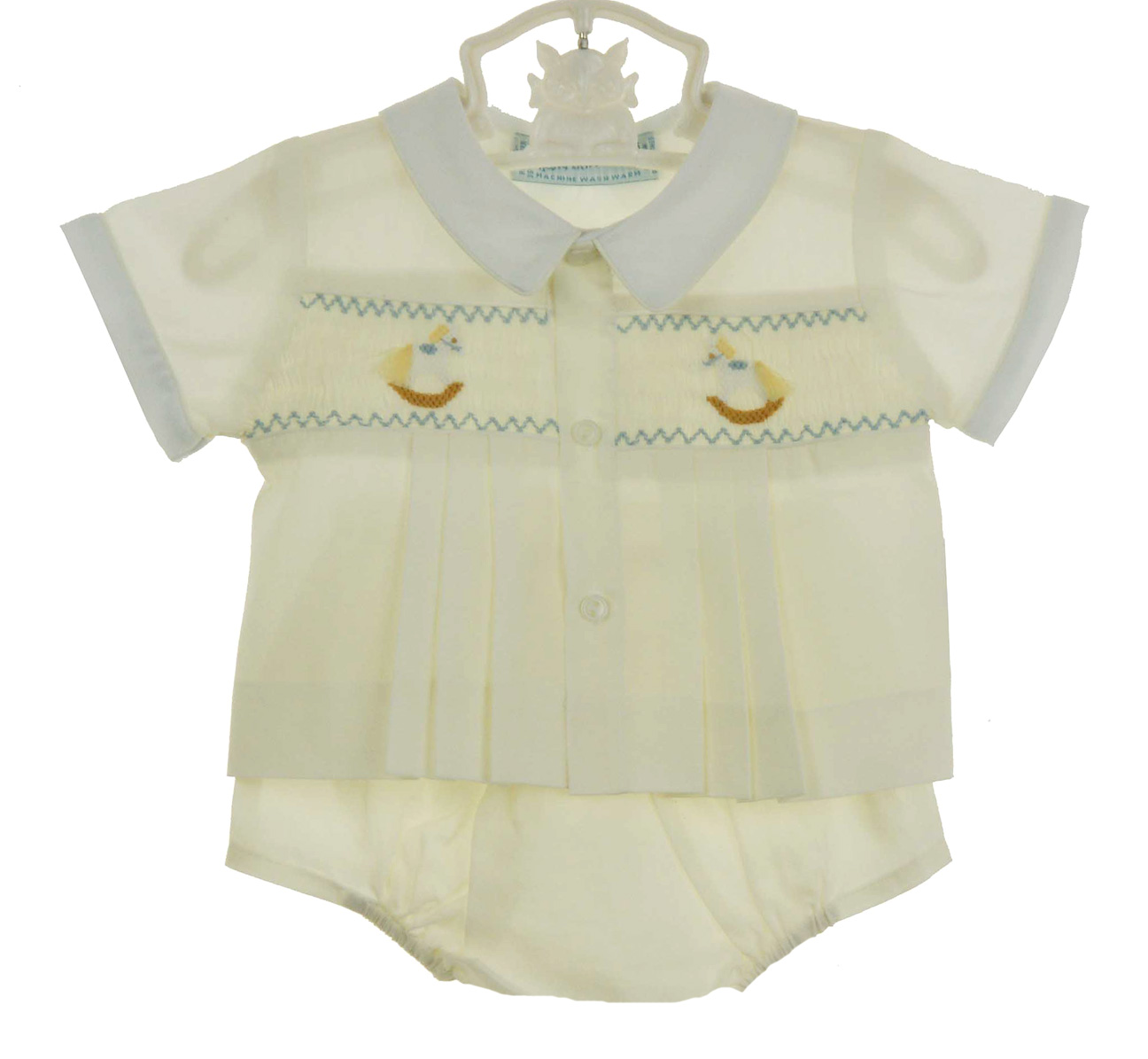 7b52204b Hand Embroidered yellow smocked diaper set with rocking horse ...