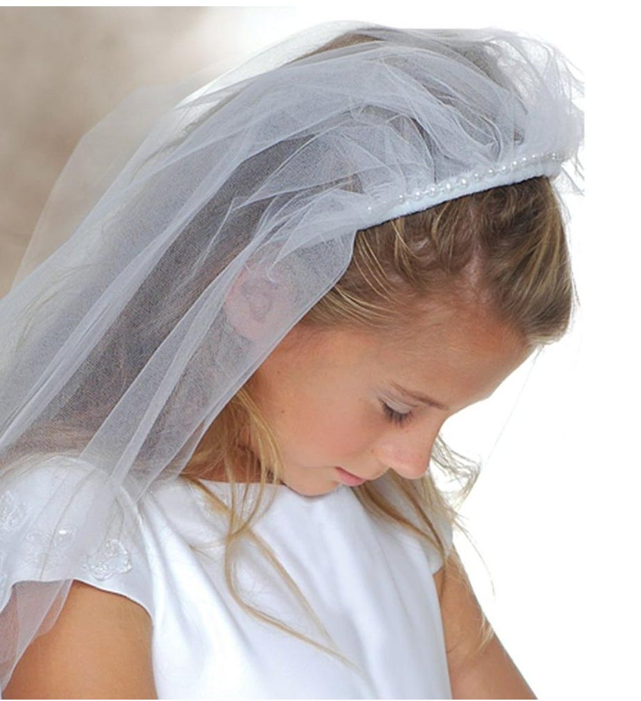 White Headband Veil With Pearl Trimgirls First Communion Veil With