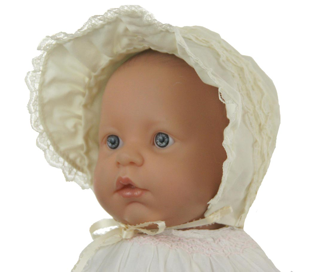 NEW Ivory Baby Bonnet with Lace Trim and Wide Face Ruffle 3ce18c61951