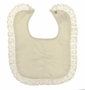 NEW Ivory Bib with Embroidered Cross and Lace Trim