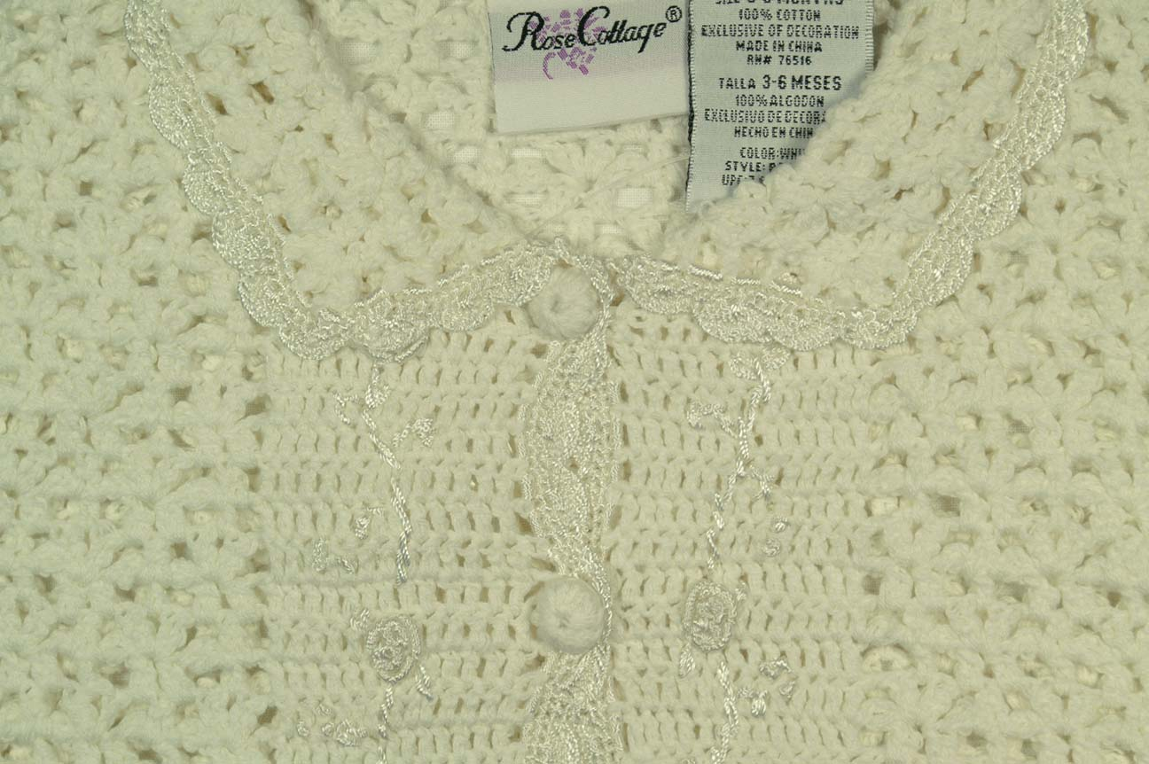 Ivory Crocheted Baby Sweater And Hat Set With Rosebud Trimbaby