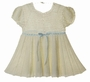 NEW Ivory Custom Crocheted Baby Dress with Blue Ribbon Insertion