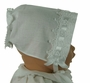 NEW Keepsake White Linen Hanky Bonnet with Venice Lace Trim and Ribbon Insertion