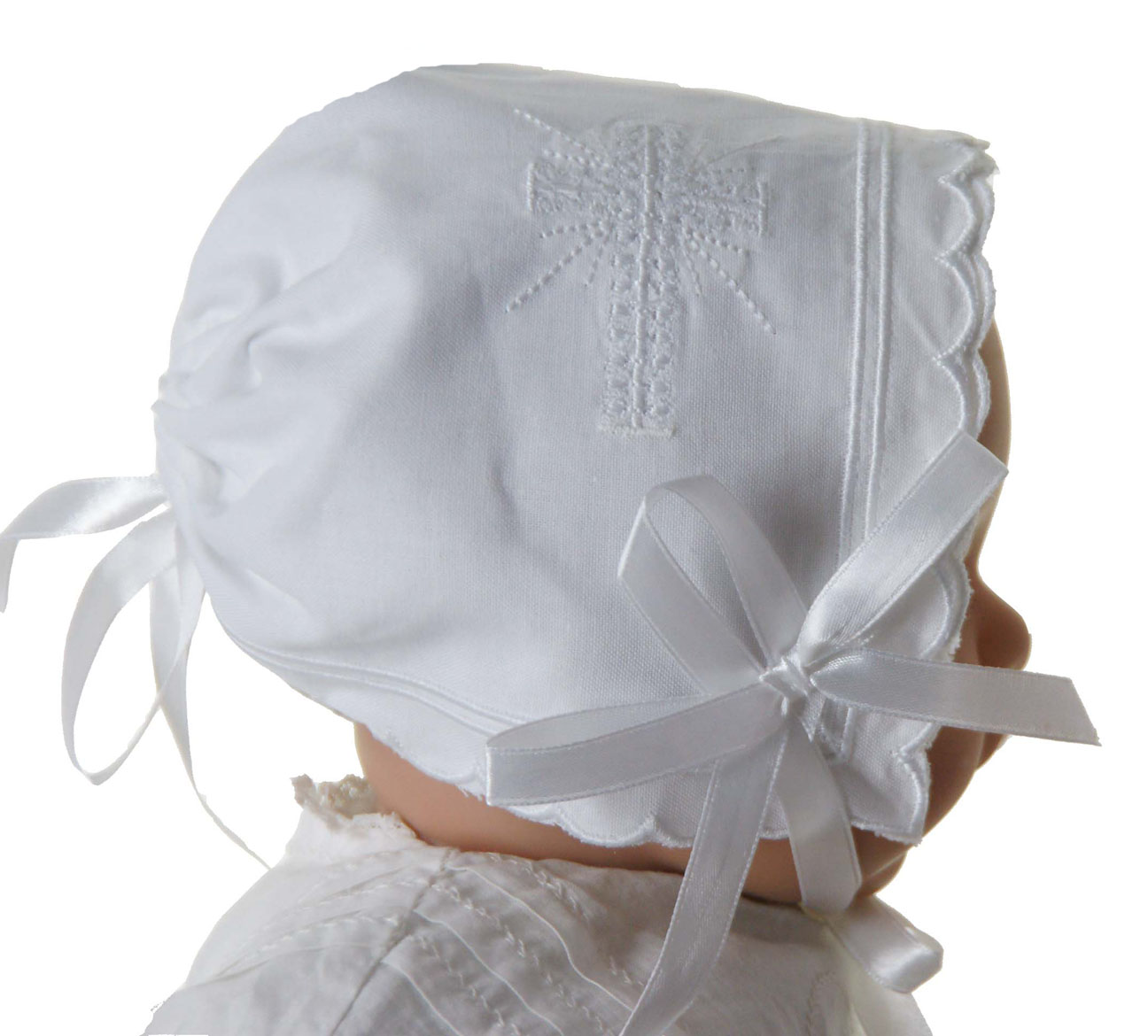 New Keepsake Hanky Bonnet With Cross Embroidery And