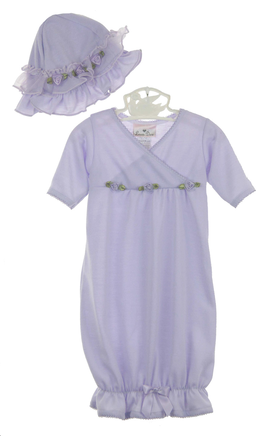lavender knit newborn gown and hat set with ribbon rosebuds,lavender ...