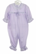 NEW Lavender Nylon Ruffle Bottom Pajamas with White Lace Trim