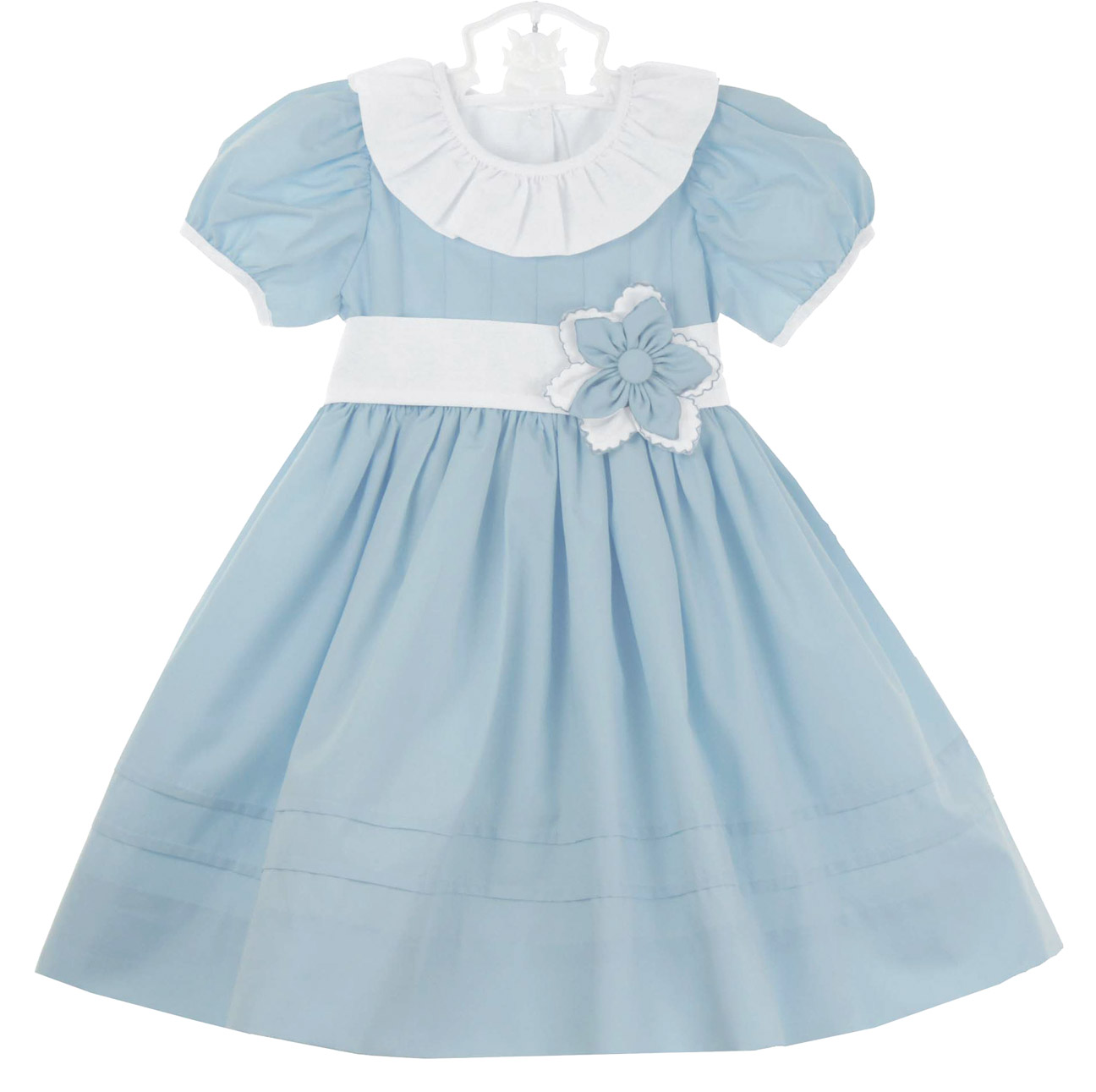 Le\' Za Me blue dress with white ruffled collar and flower accent ...