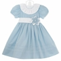 NEW Le' ZA Me Blue Dress with White Ruffled Collar and Blue Flower Accent