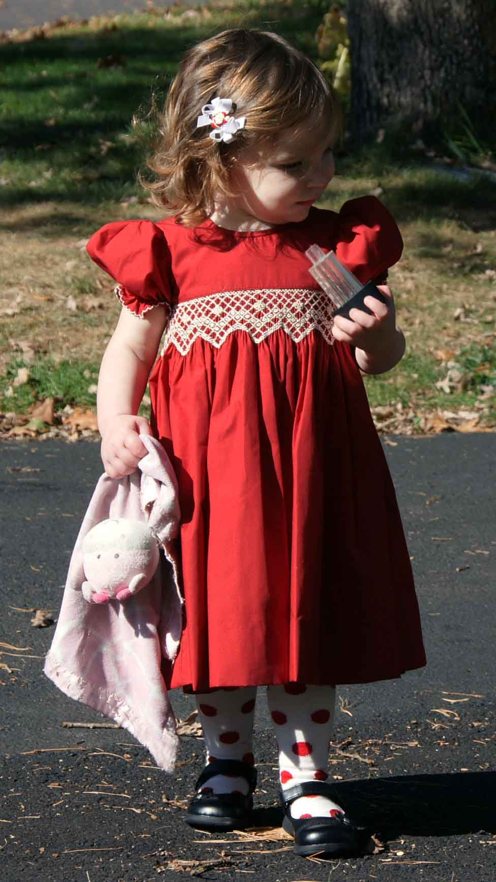 Le\' Za Me cranberry smocked dress with antique white smocked waist ...