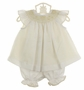 NEW Le' Za Me Ivory and White Voile Smocked Pantaloon Set