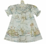 "<img src=""http://site.grammies-attic.com/images/blue-sold-1.gif""> NEW Le' Za Me Ivory Bishop Smocked Dress with Pastel Bunny Toile Print"