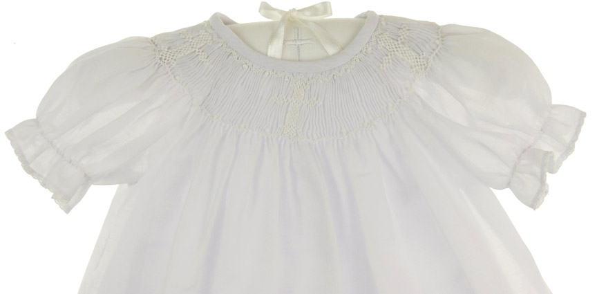 New Le Za Me White Voile Bishop Smocked Dress With White