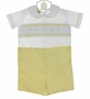 NEW Le' Za Me Yellow and White Smocked Button on Shorts Set