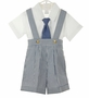 NEW Lito Blue Striped Cotton Seersucker Suspendered Shorts Set with Matching Necktie and Newsboy Hat