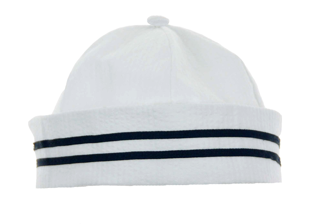 ce19bb13943 Lito White Cotton Seerer Sailor Suit And Hat With Navy