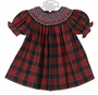 NEW Marco & Lizzy Red Plaid Bishop Smocked Dress