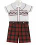 NEW Marco and Lizzy Royal Style Red Plaid Shorts with Smocked Shirt