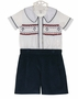 NEW Marco and Lizzy Royal Style Navy Corduroy Shorts with Smocked Shirt