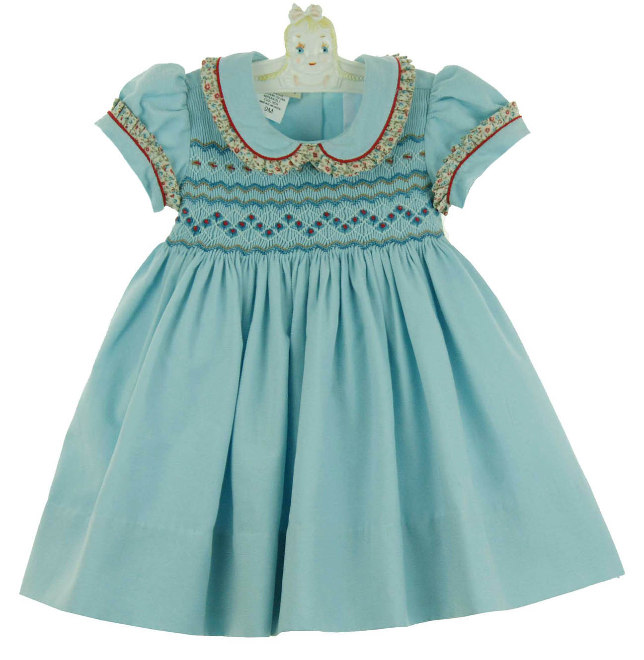 Marco & Lizzy aqua blue smocked dress with pleated floral trim,aqua ...