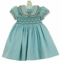 NEW Marco & Lizzy Aqua Blue Smocked Cotton Pincord Dress with Pleated Floral Trim