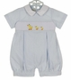NEW Marco & Lizzy Blue Striped Cotton Seersucker Romper with Embroidered Ducks