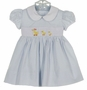 NEW Marco & Lizzy Blue Striped Cotton Seersucker Dress with Embroidered Ducks