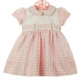 NEW Marco & Lizzy Pink Checked Cotton Vintage Style Dress with Pink Embroidered Rosebuds