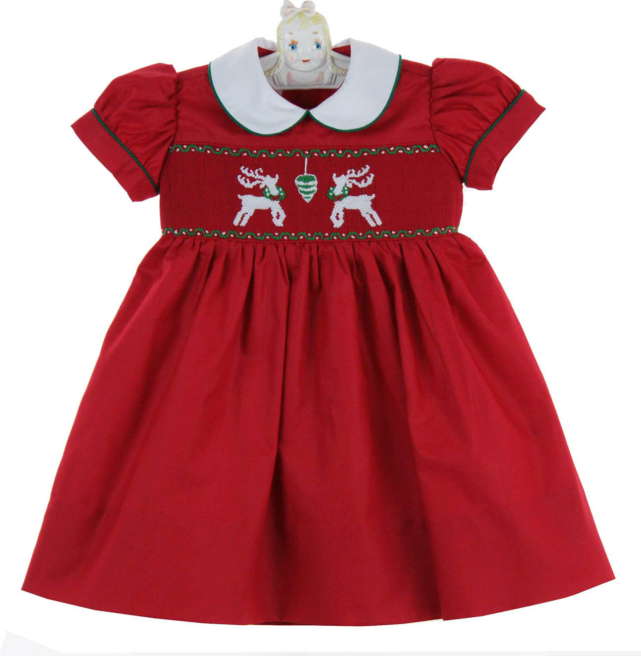 1282342e719a5 Marco & Lizzy red smocked dress with reindeer embroidery,red smocked ...