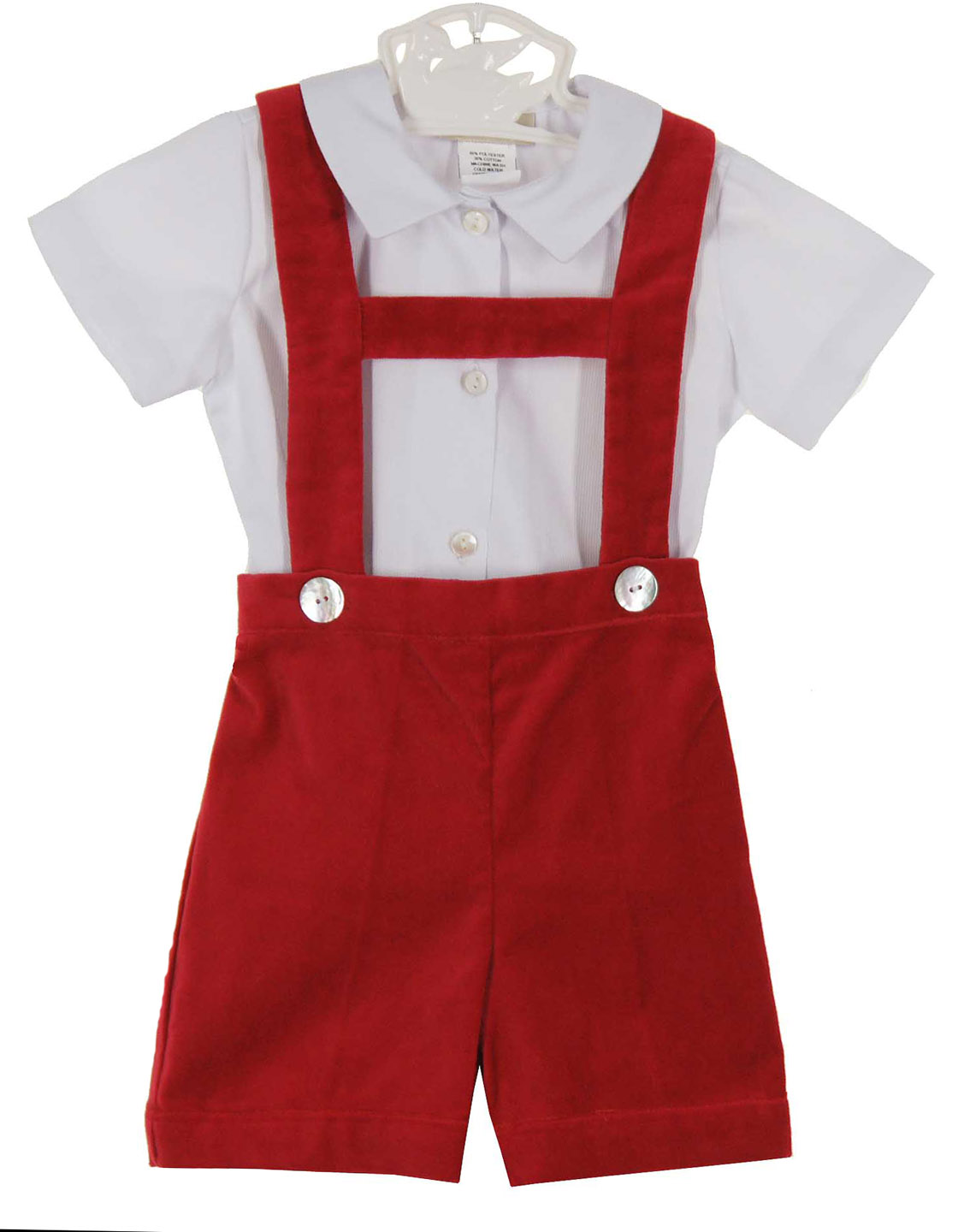 Marco & Lizzy red velvet suspendered shorts set,baby boys red ...