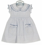 NEW Marco & Lizzy Vintage Style Blue Hearts Cotton Smocked Dress