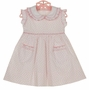 NEW Marco & Lizzy Vintage Style Pink Hearts Cotton Smocked Dress