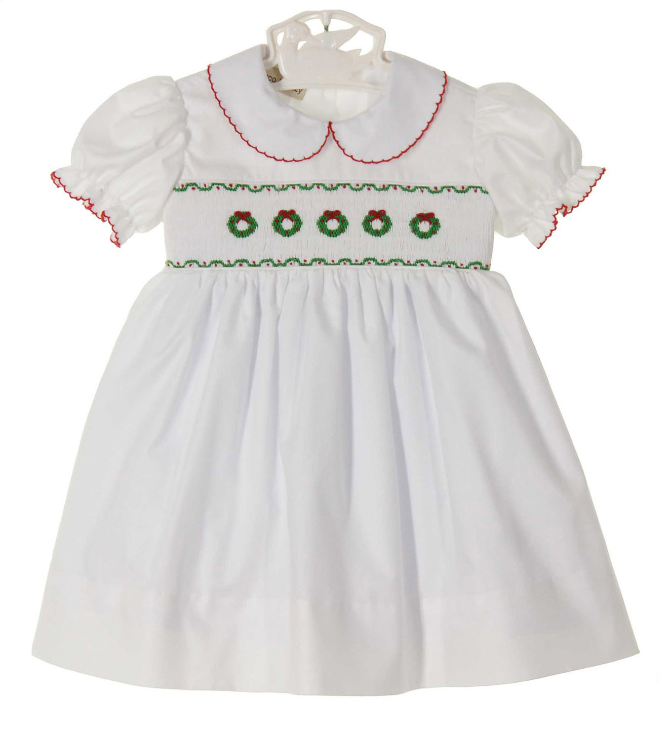 04c7320939573 Marco& Lizzy white smocked dress with embroidered wreaths,white ...