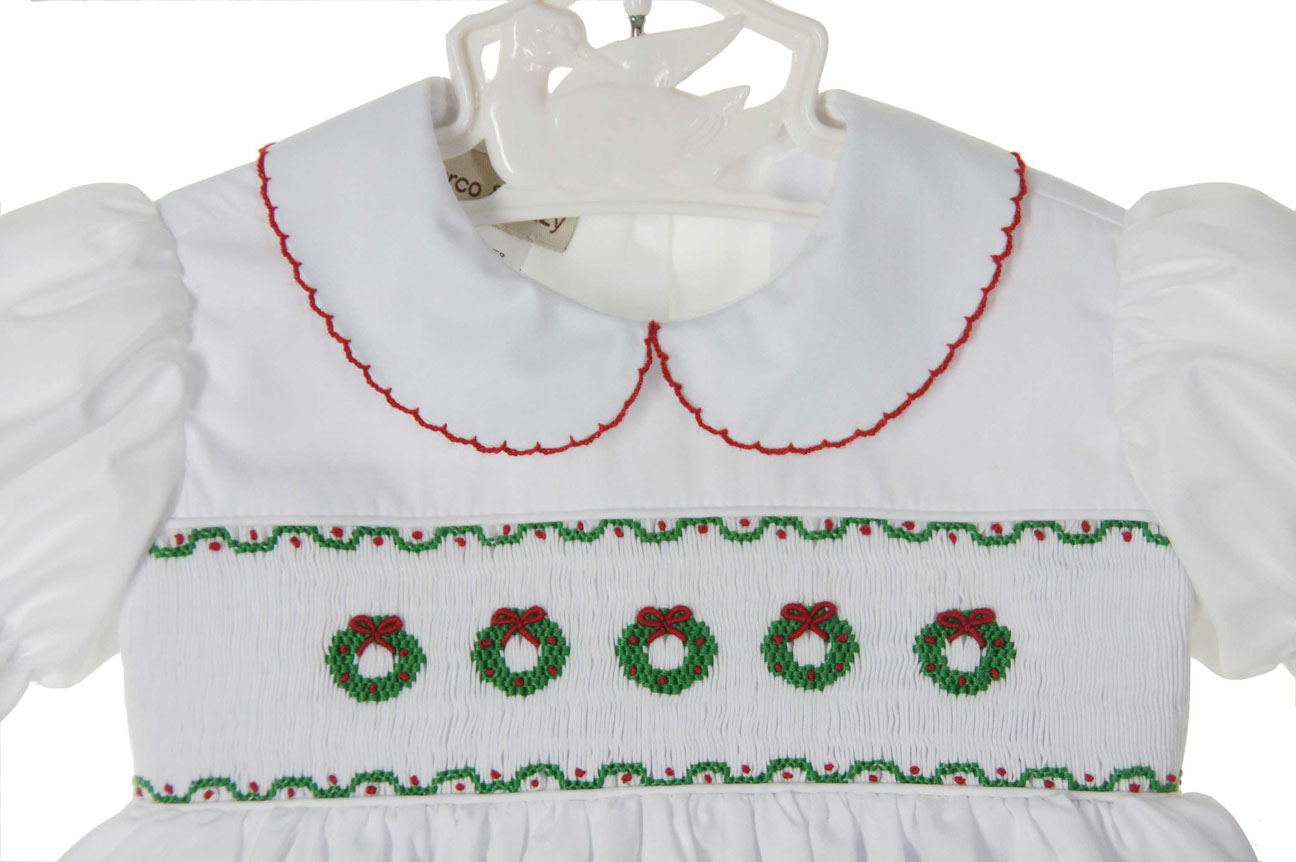 new marco lizzy white smocked dress with embroidered wreaths