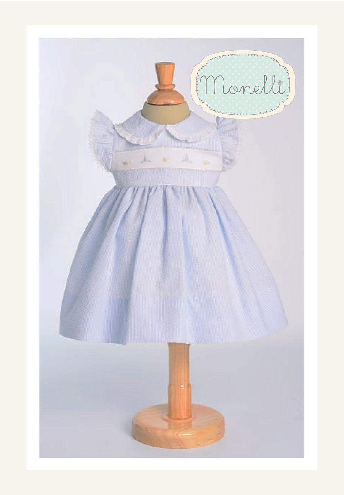 0f8f264f54b6 Monelli blue striped seersucker dress with bunny embroidery