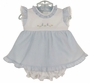 "<img src=""http://site.grammies-attic.com/images/blue-sold-1.gif""> NEW Monelli Blue Striped Seersucker Pinafore Dress and Diaper Cover with Bunny Embroidery"