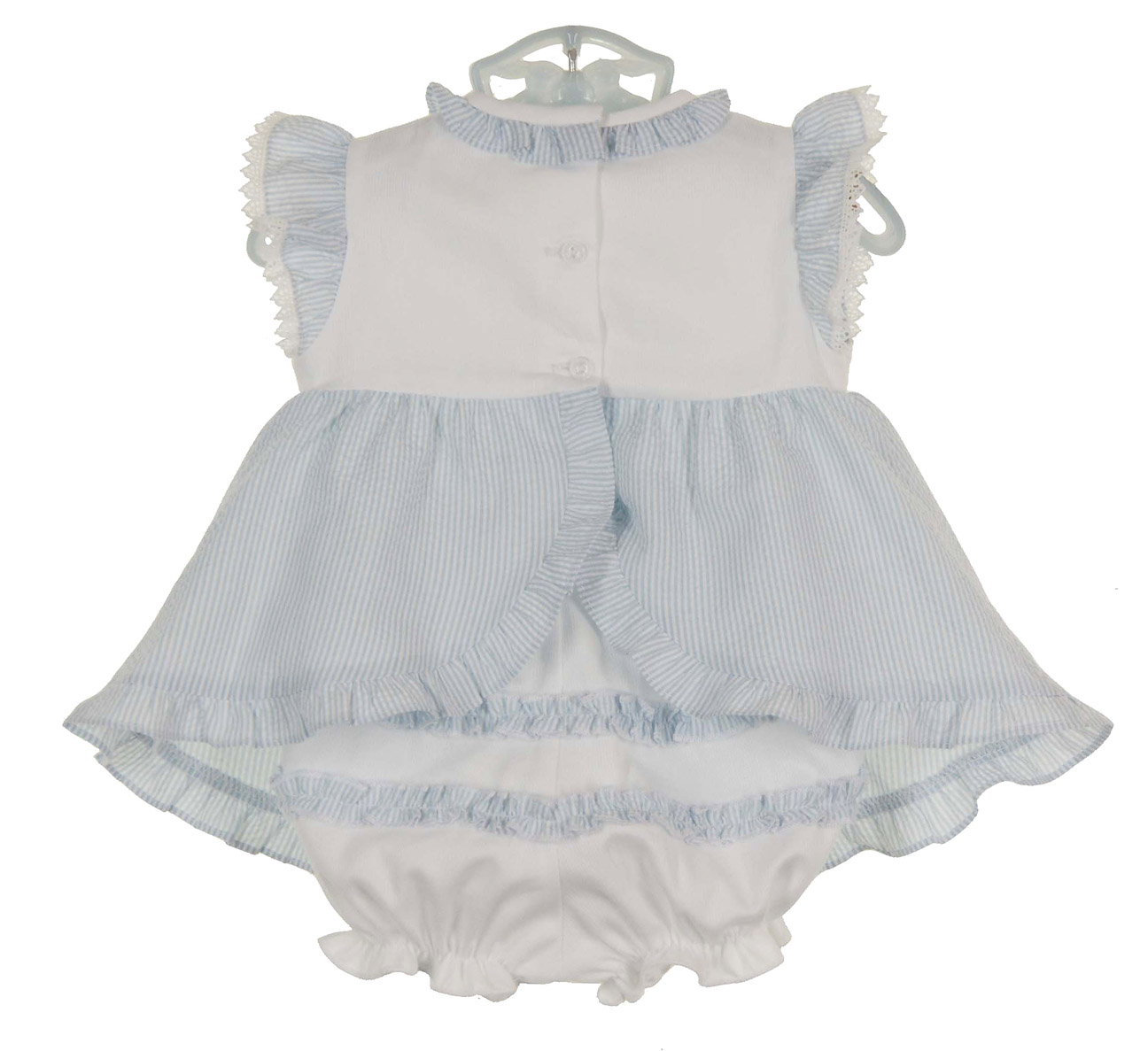 38e69bc89116 Monelli blue striped seersucker pinafore dress with bunny embroidery ...