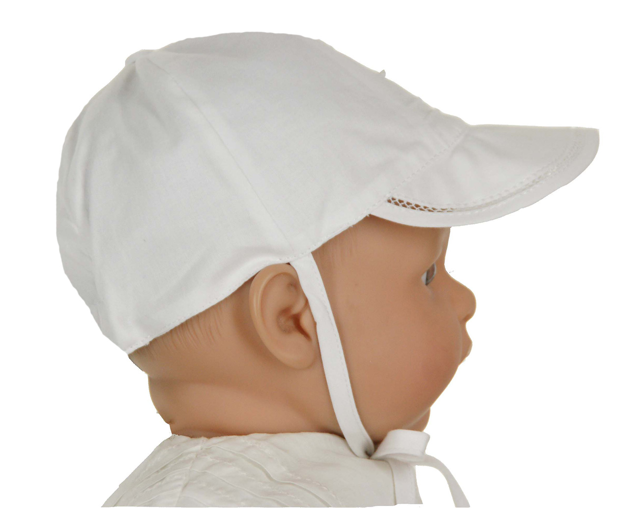 Monelli white cotton batiste hat with pin tucks and embroidery 87f4500b995