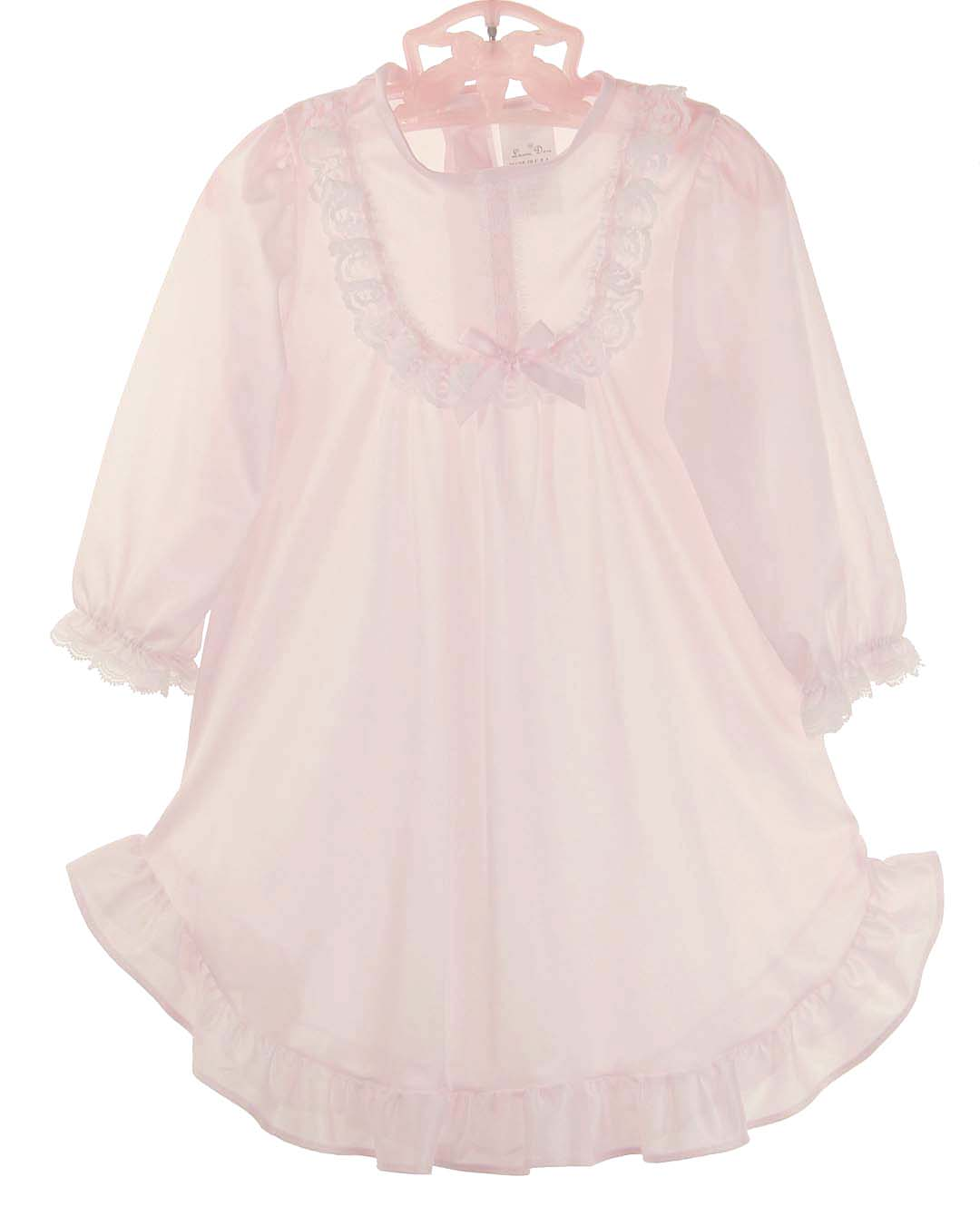 NEW Pale Pink Nylon Nightgown with Long Sleeves for Babies, Toddlers ...