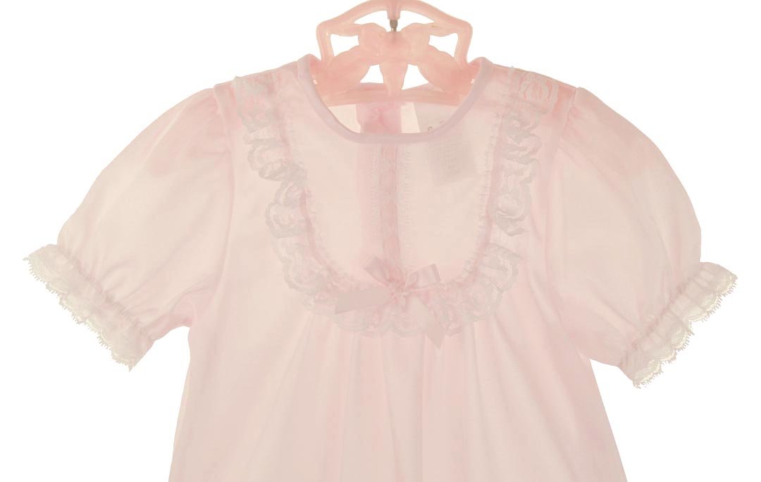 New Pale Pink Nylon Nightgown With Short Sleeves For