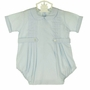 "<img src=""http://site.grammies-attic.com/images/blue-sold-1.gif""> NEW Pastels by Feltman Brothers Robins Egg Blue Romper with Front Pleast and Buttoned Tabs"