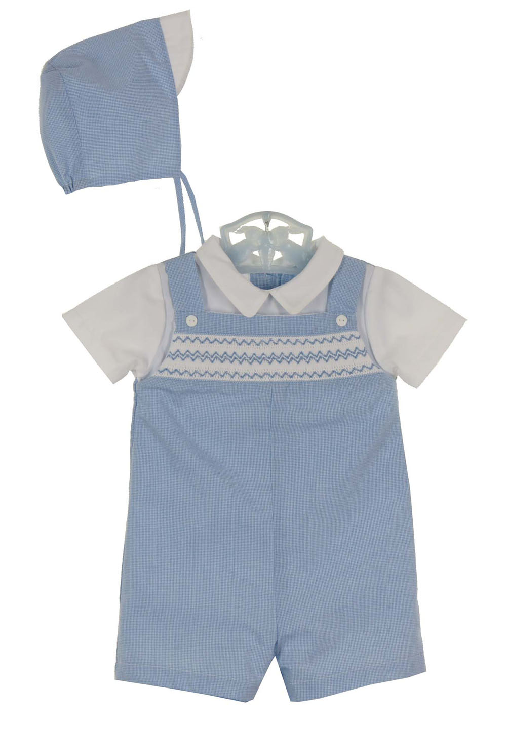 28dae6f1ab211 NEW Petit Ami Blue Checked Smocked Romper and Hat Set