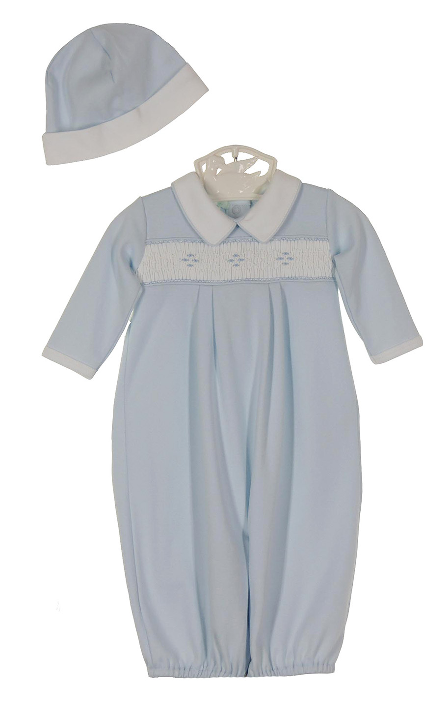74e765aae7c5d Petit Ami blue pima cotton smocked gown and hat set with blue and white  embroidered smocking