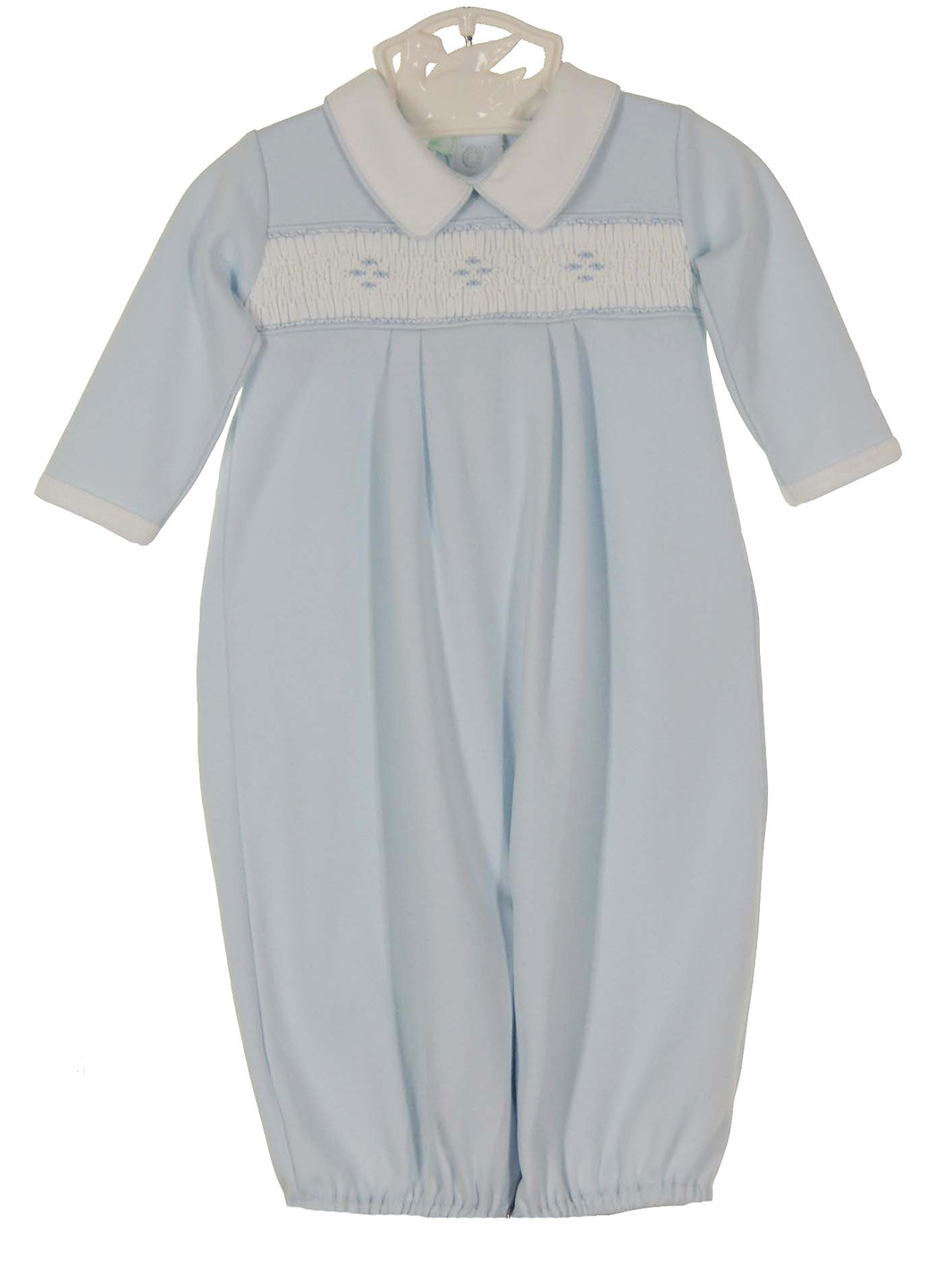 Petit Ami Blue Pima Cotton Smocked Gown And Hat Set With