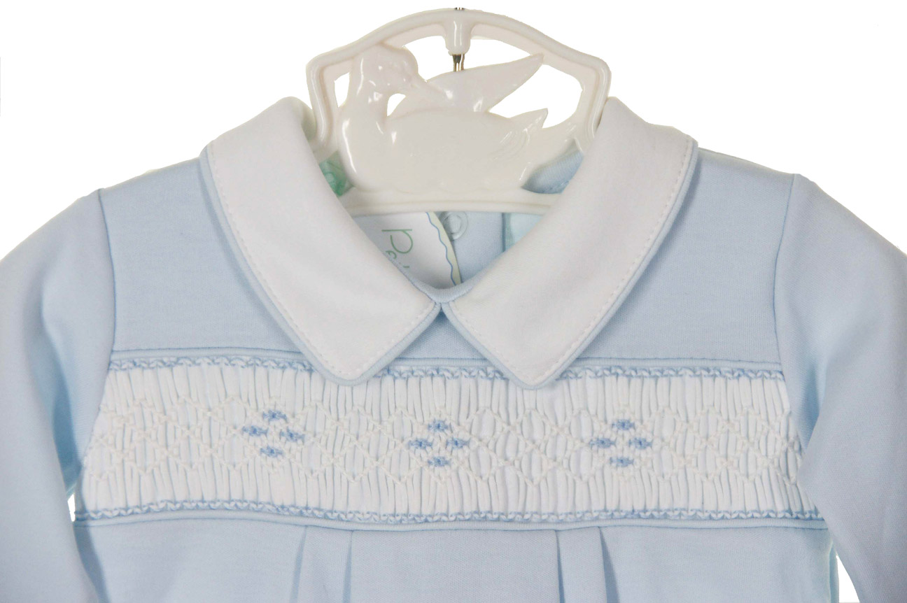 4fd34115144b5 NEW Petit Ami Blue Pima Cotton Knit Smocked Convertible Gown/Romper with  Matching Hat