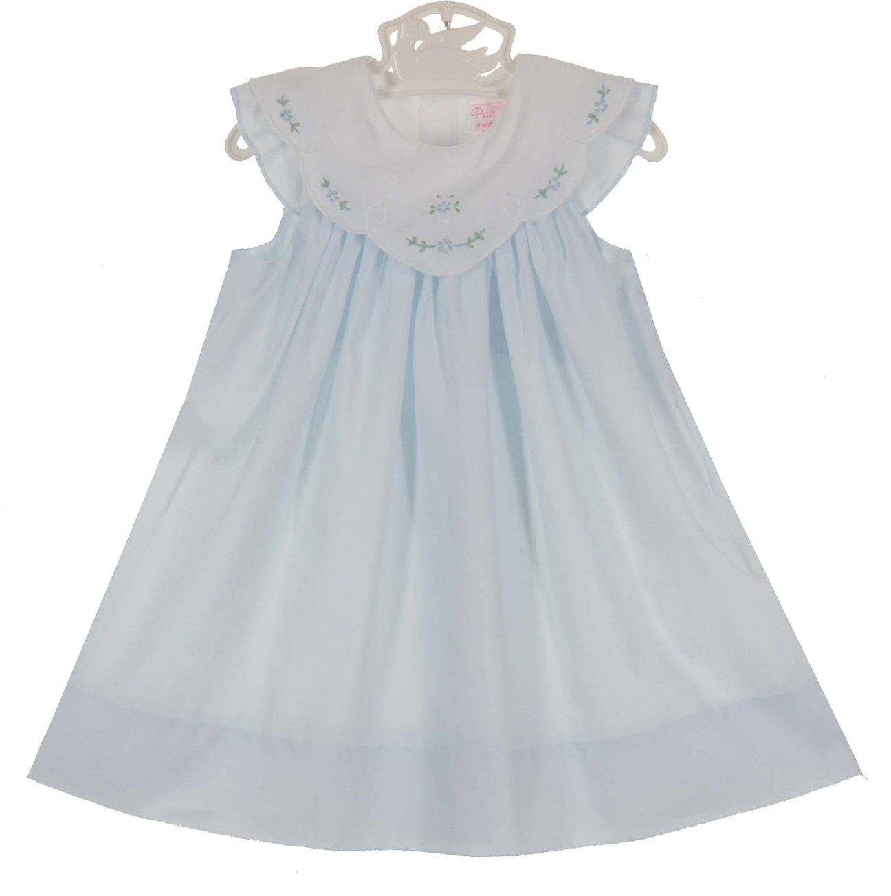 Petit Ami pale blue dress with white embroidered portrait collar ...