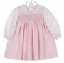 NEW Petit Ami Pink Cotton Corduroy Smocked Jumper, Blouse, and Diaper Cover