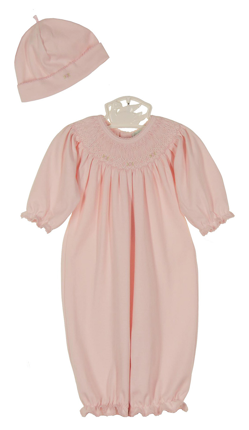 Petit Ami pink pima cotton smocked gown and hat set with rosebud  embroidered smocking 0b0e95c4bac2