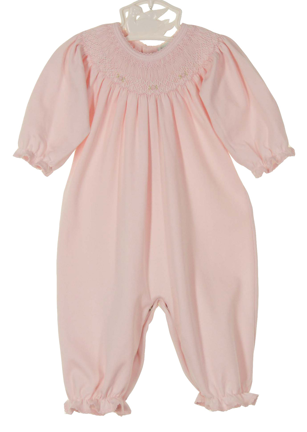 Petit Ami Pink Pima Cotton Smocked Gown And Hat Set With