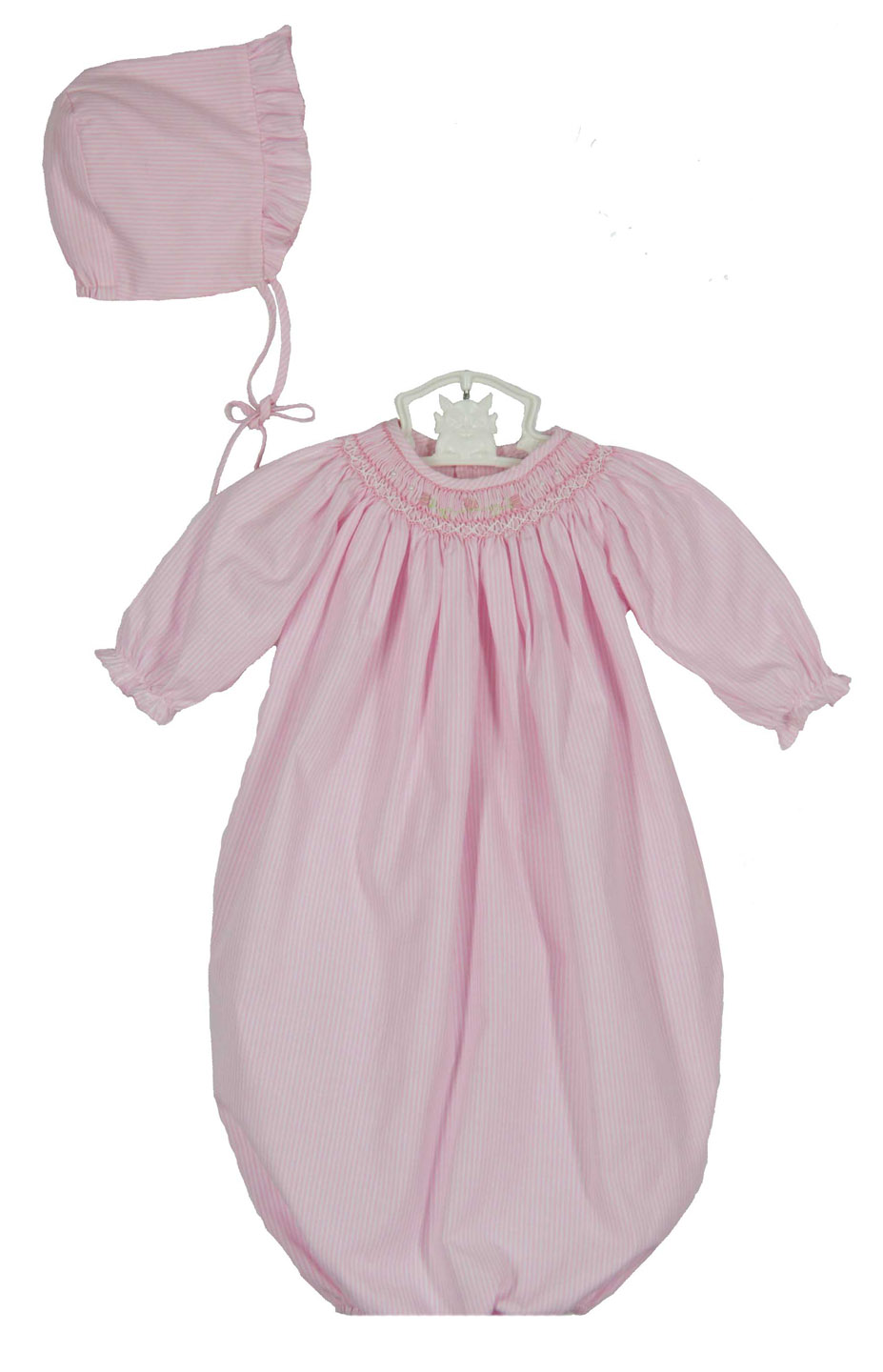 Petit Ami pink smocked gown and bonnet,pink smocked ...
