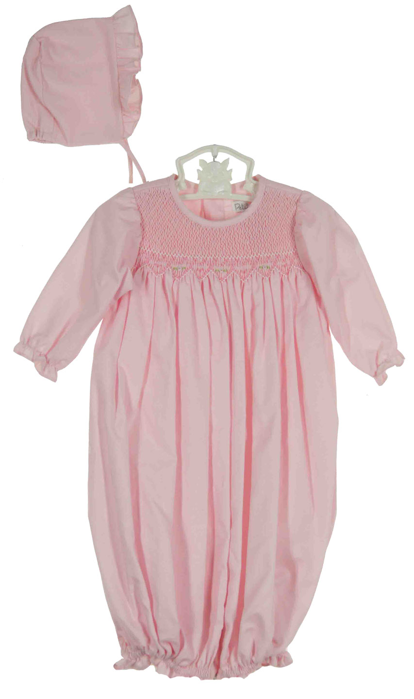 Petit Ami pink smocked convertible gown to romper with matching hat ...
